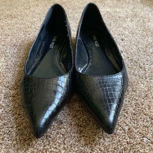 Nine West black croc pointy toe flats, size 6.5